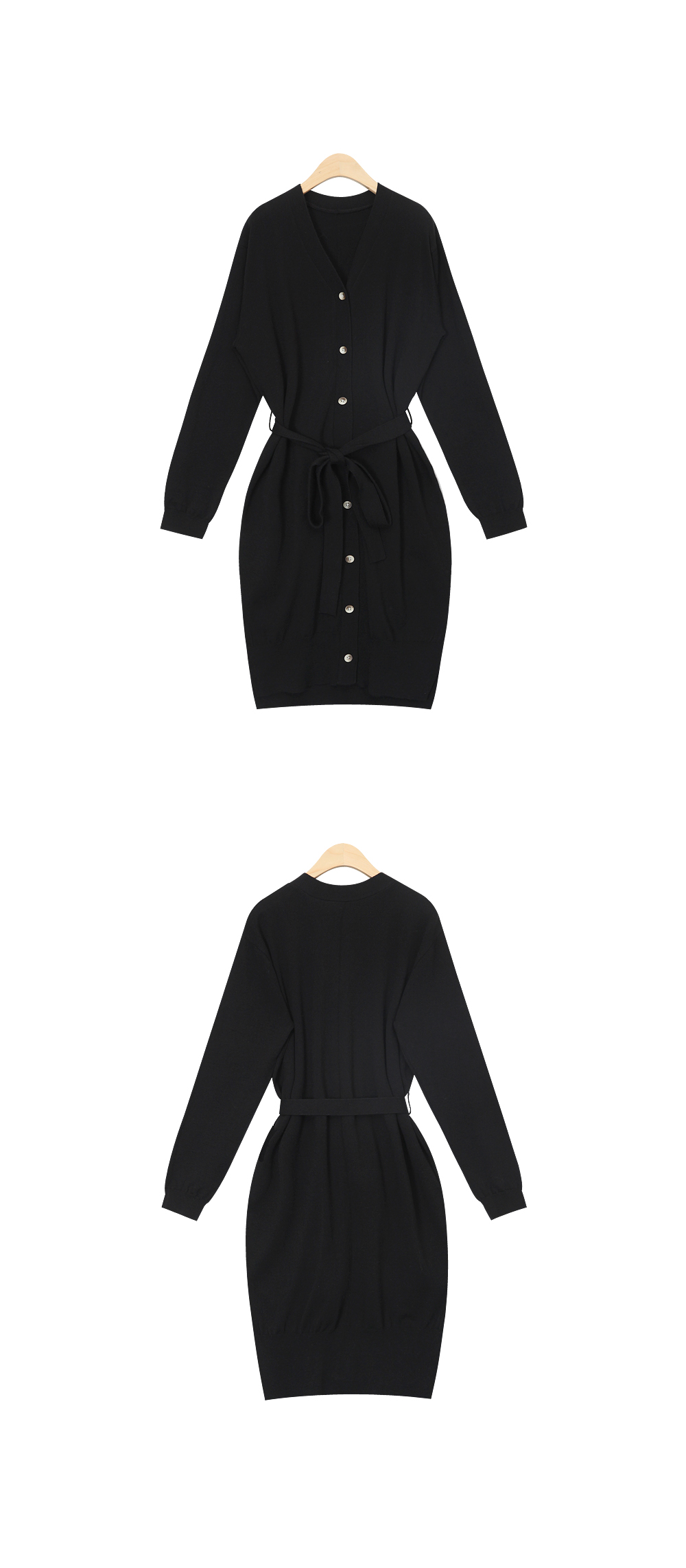 누이슈(NUISSUE) LONG KNIT CARDIGAN BLACK